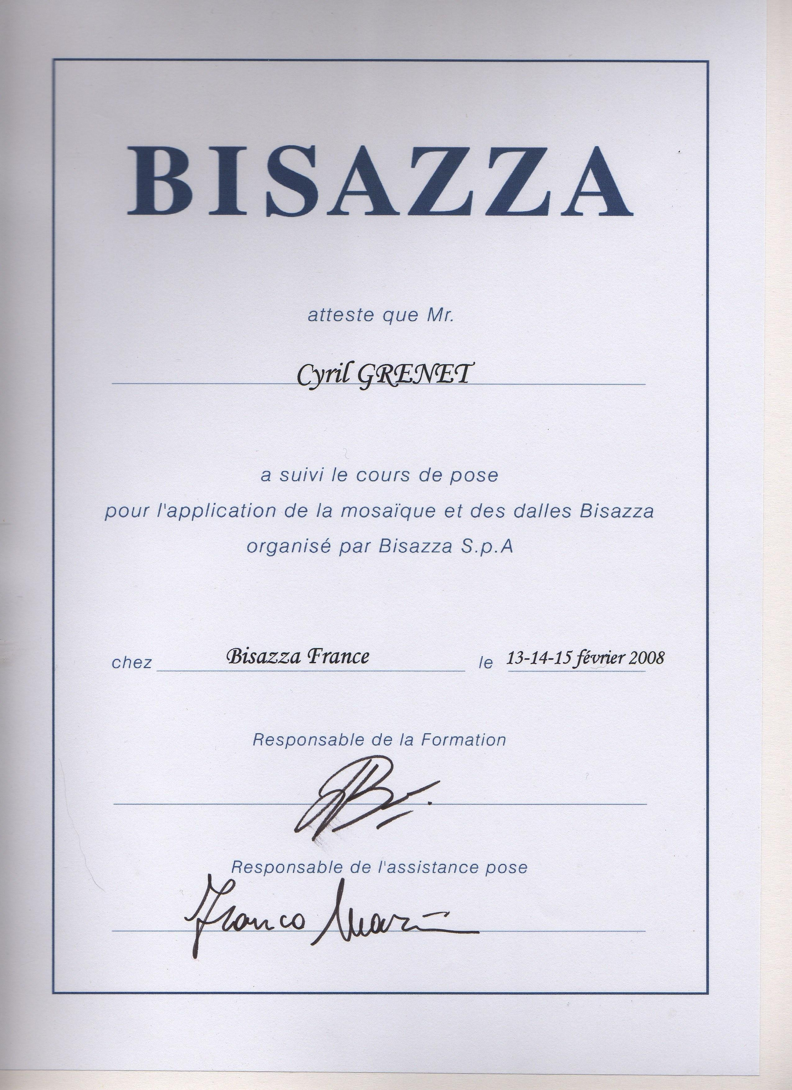 attestation de formation chez bisazza